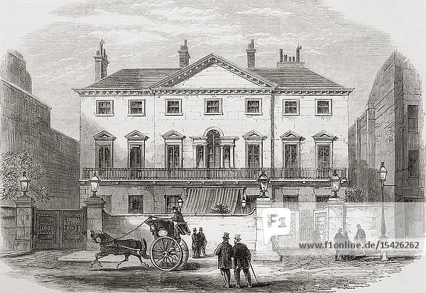 Cambridge House  Piccadilly  London  England. The town house of Lord Palmerston. From The Illustrated London News  published 1865.