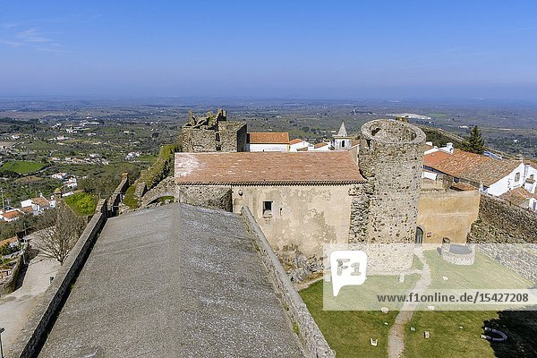 View of castle of Castelo de Vide from the keep  Portalegre District  Alentejo Region  Portugal.