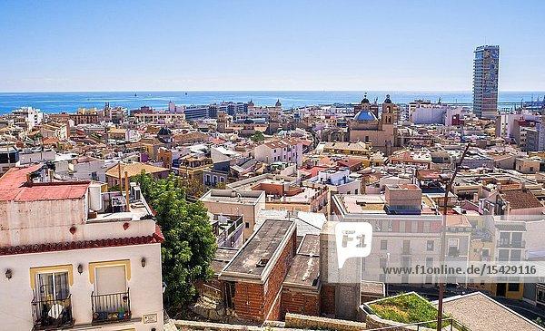 View of Alicante from Santa Cruz neighborhood. Alicante. Valencian Community  Spain.