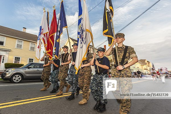USA  New England  Massachusetts  Cape Ann  Gloucester  Gloucester Horribles Traditional Parade  July 3  student military honor guard  NR.