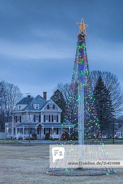 USA  New England  Massachusetts  Rowley  village Christmas tree decorations.