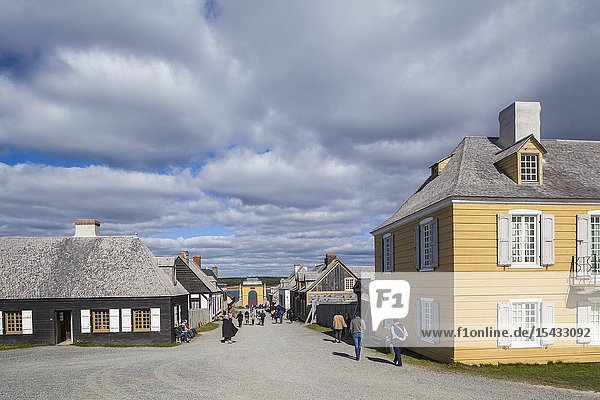 Canada  Nova Scotia  Louisbourg  Fortress of Louisbourg National Historic Park  reconstructed buildings looking towards The Frederic Gate.