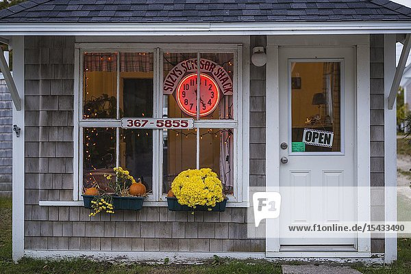 USA  Maine  Stonington  village hair stylist shop.