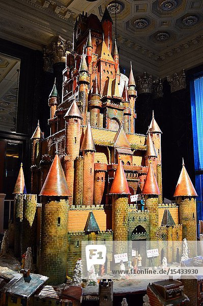 A tall gingerbread castle in the St Francis lobby  San Francisco.
