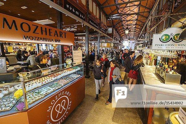 Mercado de San Miguel. Typical gastronomic market specialized in tapas. Madrid city  Spain. Europe.