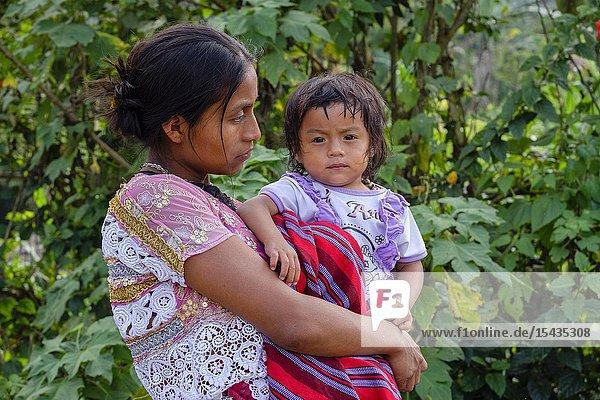 Woman with daughter  Lancetillo-La Parroquia  Zona Reina  Quiche  Guatemala  America Central.
