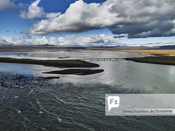 Coastline Sellfoss  South Coast Iceland. This image is shot from a helicopter.