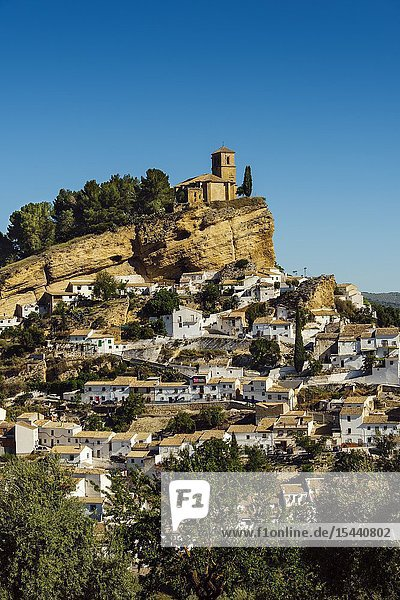Panoramic view typical Andalusian village of Montefrio. Granada province  southern Andalusia. Spain Europe.