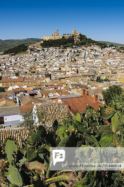 Panoramic view typical Andalusian village of Alcala la Real. Jaen province  southern Andalusia. Spain Europe.