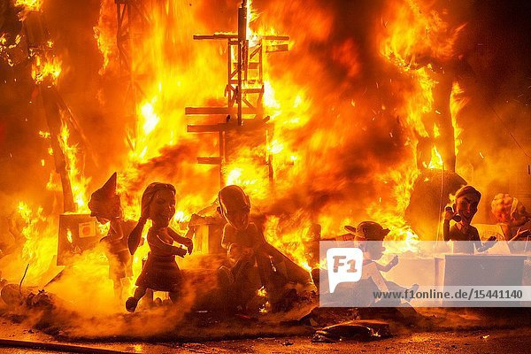 Fallas festival. La Crema. The Burning. On 19 March all of the sculptures go up in flames. Burning in the St Joseph night. Valencia. Valencian Community. Spain.