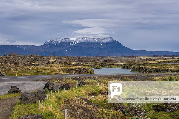 Landscape of Myvatn Lake area near Reykjahlid village in Iceland  view with Blafjall mount on background.