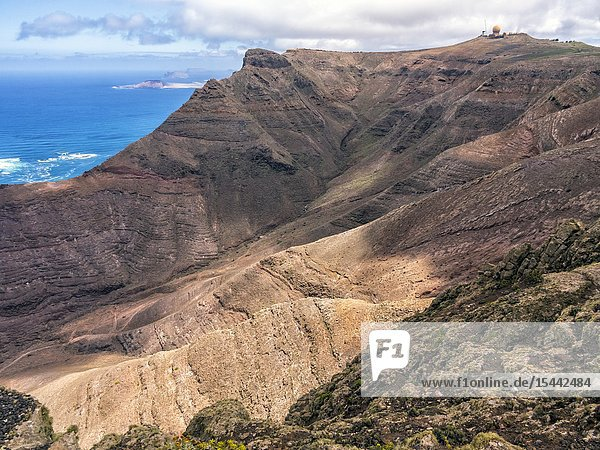 Green Matos and astronmical observatory on the background from Our Lady of the Snows. Lanzarote. Canary Islands. Spain. Europe.