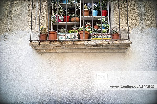 Typical village balcony with pots and plants  Falset  Tarragona  Catalonia  Spain  Europe.
