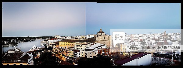 Photomontage of the view of the port and city at dusk. Mahon Menorca  Balearic Islands  Spain  Europe.