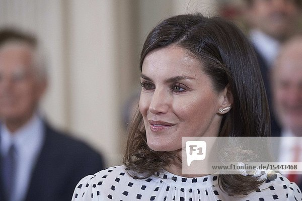 Queen Letizia of Spain attends Audience to the assistants of the International Council of the Royal Theater at Zarzuela Palace on June 14  2019 in Madrid  Spain