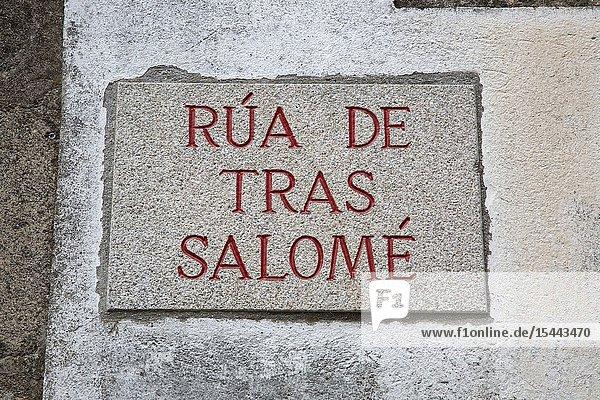 Tras Salome Street Sign  Santiago de Compostela  Galicia  Spain.