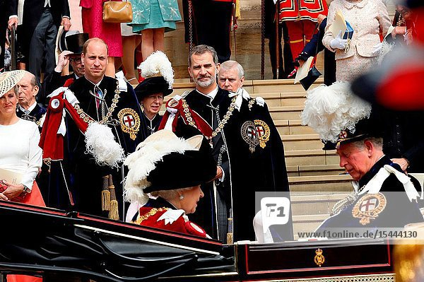 King Felipe VI of Spain  Charles  Prince of Wales  Queen Elizabeth II of the United Kingdom of Great Britain and Northern Ireland attends Order of the Garter service at St George's Chapel on June 17  2019 in Windsor  United Kingdom