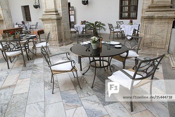 Courtyard of Duques de Feria Alcazar Castle  Parador Hotel  Zafra  Extremadura  Spain.