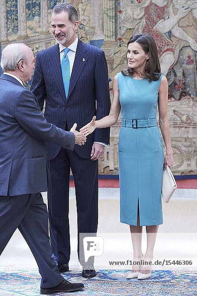Queen Letizia of Spain attends Annual meeting with the members of the Patronages of the Princess of Asturias Foundation at Palacio de El Pardo on June 26  2019 in Madrid  Spain