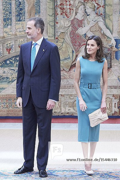 King Felipe VI of Spain  Queen Letizia of Spain attends Annual meeting with the members of the Patronages of the Princess of Asturias Foundation at Palacio de El Pardo on June 26  2019 in Madrid  Spain
