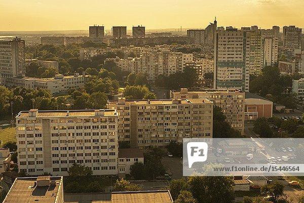 Bulgaria Burgas. Aerial view of the communist era residential block s.