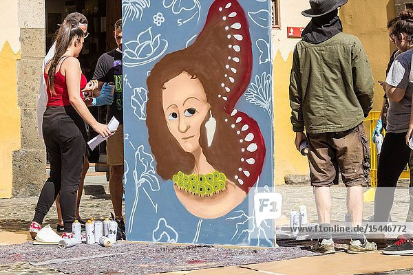 "Las Palmas  Gran Canaria  Canary Islands  Spain. 11th  February 2019. Students and graffiti artists in Las Palmas pay tribute to famous female scientists on International Day of Women and Girls in Science. This year`s theme is 'Investment in Women and Girls in Science for Inclusive Green Growth'. PICTURED: Maria Sibylla Merian( 1647 â. "" 1717) was a German born Naturalist  Entymologist and a Botanical Illustrator: rated as being one of the greatest ever botanical artists."