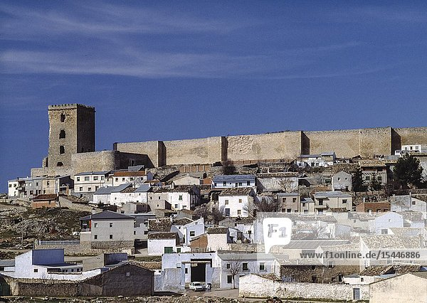 The fortress of Uclés (12th century) which was built on a vast swathe of land: one square kilometre surrounded by walls  bastions  buttresses and crenellated towers.