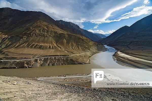 Sangam Indus and Zanskar river confluence  Ladakh  India.