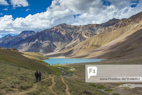 SPITI  INDIA  July 2016  Trekkers at Chandra Taal or Chandra Tal lake.