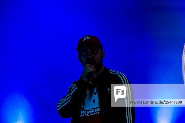 Kiel  Germany - June 26th 2019: The Hip-hop-Band Antilopen Gang is performing on the Rathaus Stage during the 125th Kiel Week