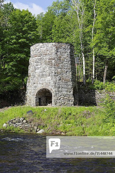 Stone Iron Furnace in Franconia  New Hampshire USA.