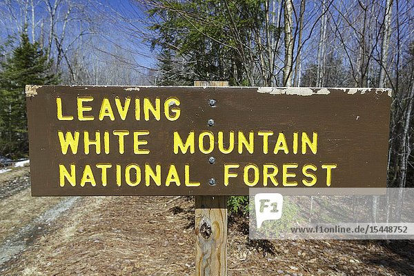 Leaving the White Mountain National Forest sign in Bethlehem  New Hampshire during the spring months.