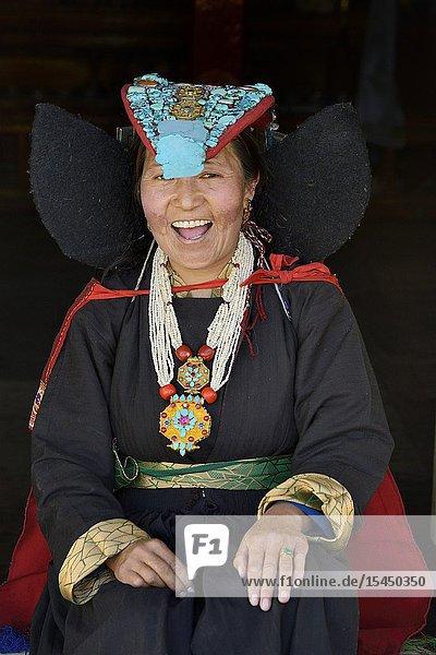 India  Jammu & Kashmir  Ladakh  Hemis Shukpachan  Young lady wearing the perak or traditional headdress.