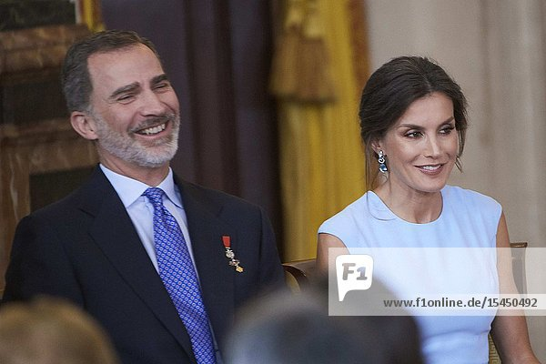 King Felipe VI of Spain  Queen Letizia of Spain attends 'Order of the Civil Merit' ceremony at Royal Palace on June 19  2019 in Madrid  Spain