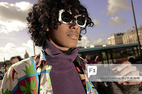 Young fashion model man  in Paris  France