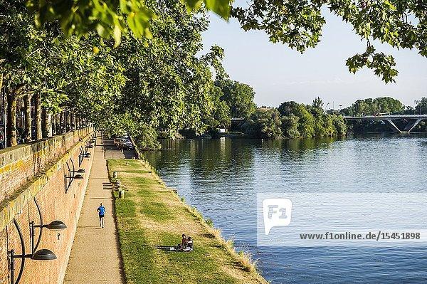 Running near Pont Neuf in the riverside of the Garonne river  Toulouse (Haute-Garonne Department  Occitanie Region  France)