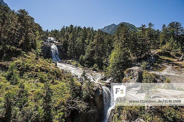 Pont d'Espagne waterfalls in Pyrenees national Park (Hautes-Pyrénées Department,  Nouvelle-Aquitaine Region,  France)