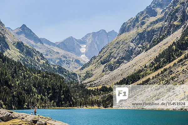 View of Gaube lake and Vignemale peak in background  Pyrenees national Park (Hautes-Pyrénées Department  Nouvelle-Aquitaine Region  France)