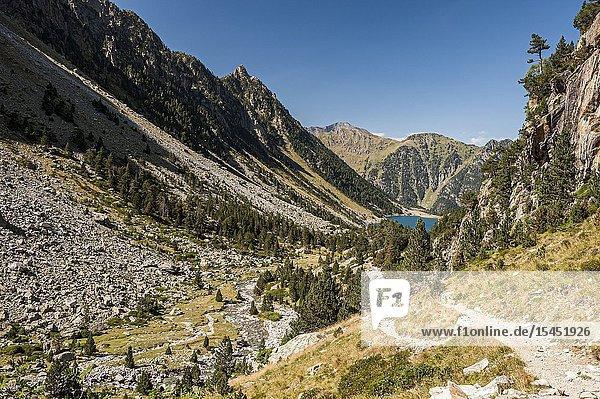 Mountain landscape in Gaube Valley  Pyrenees national Park (Hautes-Pyrénées Department  Nouvelle-Aquitaine Region  France)