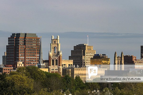 New Haven  Connecticut  USA The city skyline and Yale University.