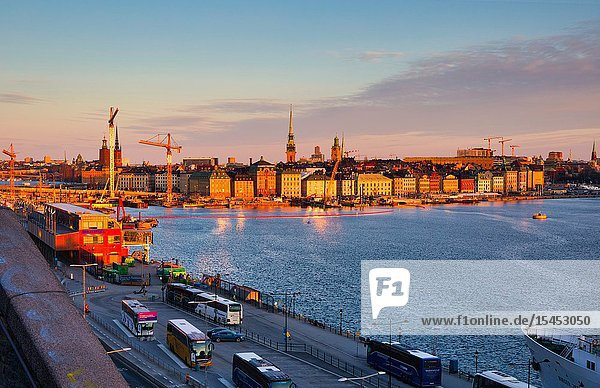Sunrise panorama taken from Sodermalm with golden hour light on Gamla Stan  Stockholm's old town  Stockholm  Sweden  Scandinavia