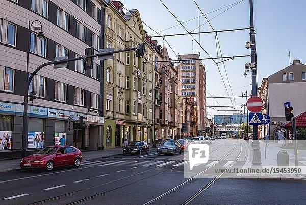 Dworcowa Street in Bydgoszcz city  Poland.