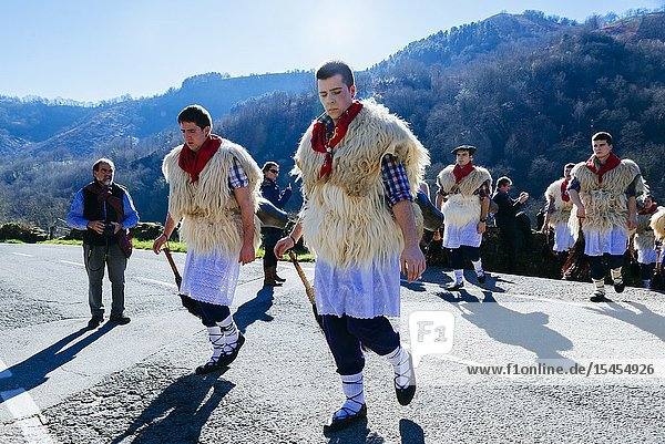 A Joalduna is a traditional character of the culture of Navarre  especially in some small villages of the north of Navarre: Ituren and Zubieta. His function is to shake some cowbells to warn people about the arrival of the carnivals. Ituren - Zubieta. Navarre. Spain. Europe.