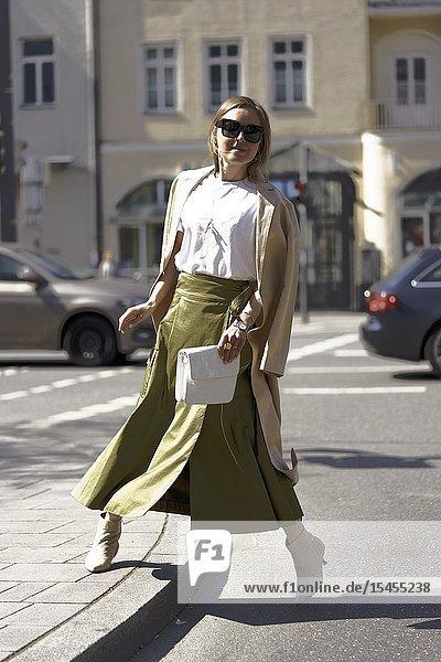 Stylish woman at street in Munich  Germany