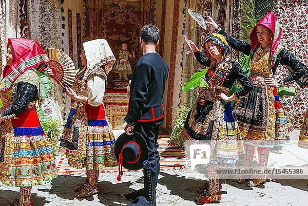 Participants in the procession of the Corpus Christi wearing the traditional costume of Lagartera. Lagartera  Toledo  Castilla - La Mancha  Spain  Europe.