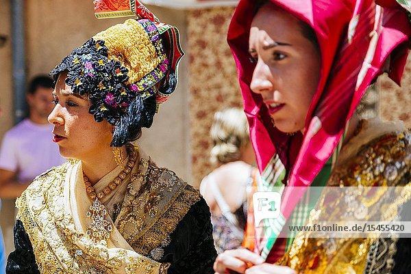 Women dressed in the typical costume of Lagartera during the procession of Corpus Christi. Lagartera  Toledo  Castilla - La Mancha  Spain  Europe.