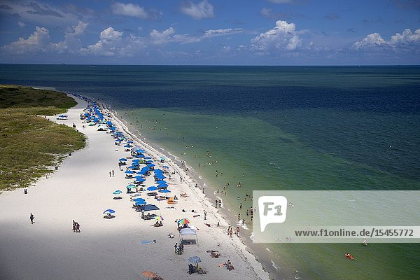 View of the beach at Bill Baggs Park from the Key Biscaine lighthouse  Miami-Dade  Florida  USA.