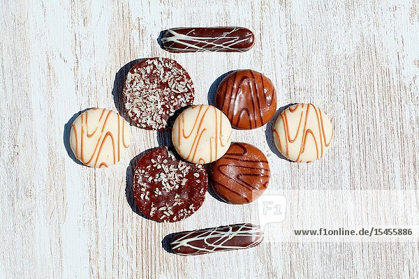 Assorted chocolate cookies on a table