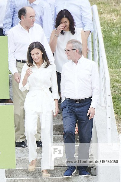 Queen Letizia of Spain assists to the training of the 'National Women's Rugby Team 7' participating in the next pre-Olympic tournament at Rugby Stadium of the Complutense University on July 4  2019 in Madrid  Spain