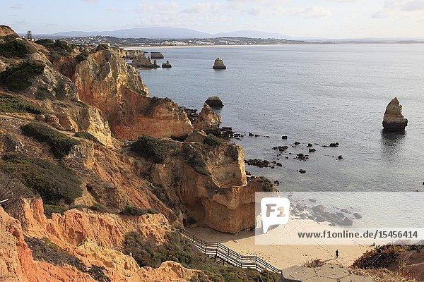 Portugal  Algarve  Lagos  Praia do Camilo  cliffs  scenery .